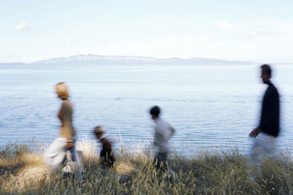 A family walking outside
